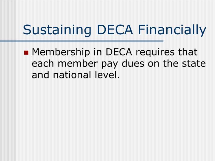 Sustaining DECA Financially