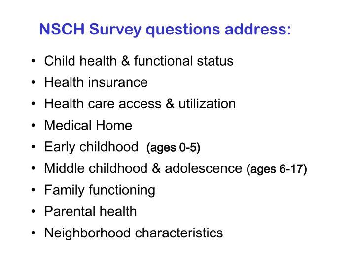 NSCH Survey questions address: