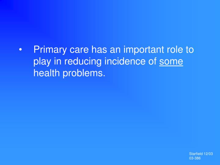 Primary care has an important role to play in reducing incidence of