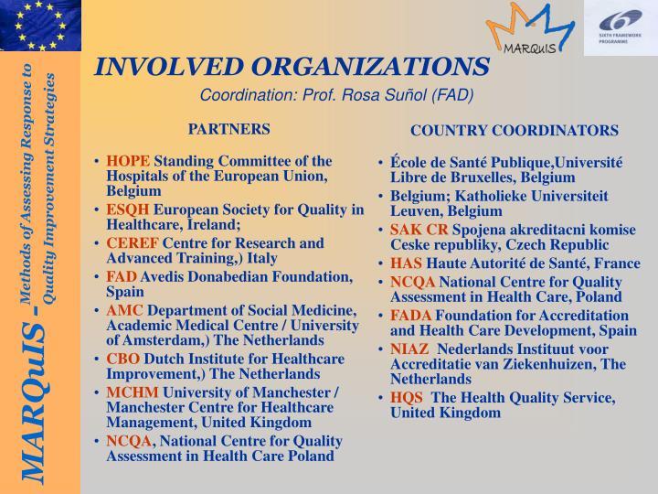Involved organizations