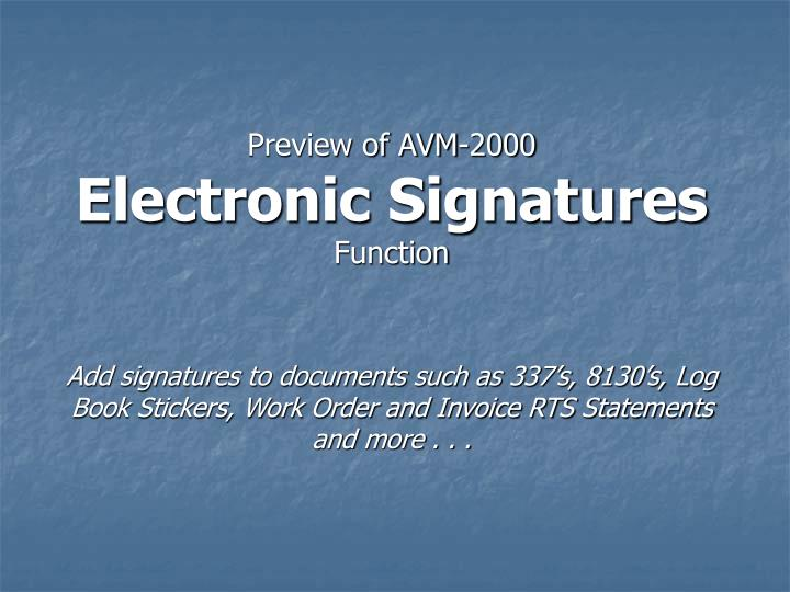 preview of avm 2000 electronic signatures function n.