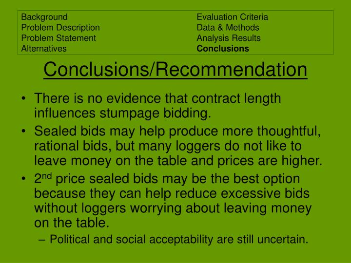 Conclusions/Recommendation