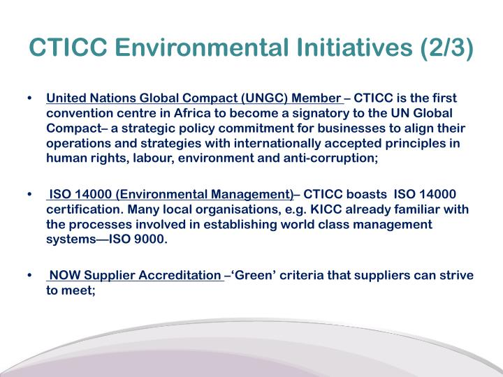 CTICC Environmental Initiatives (2/3)