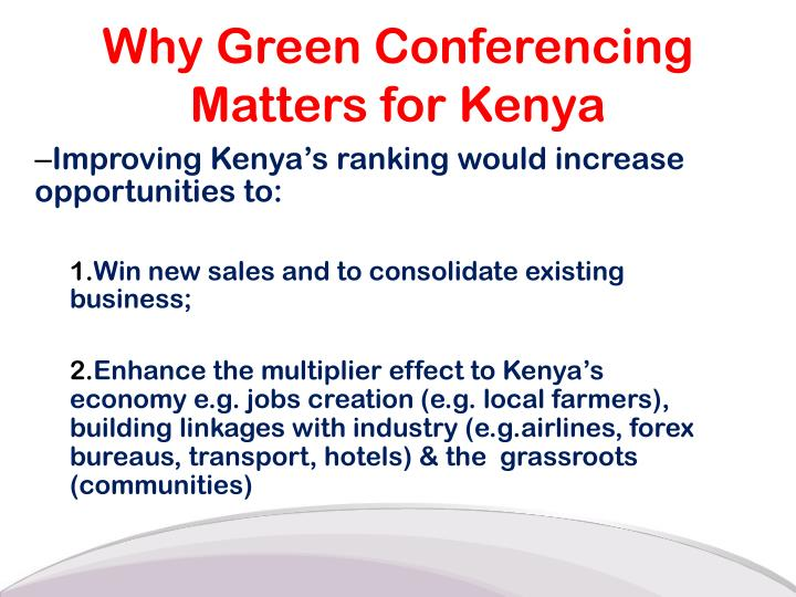 Improving Kenya's ranking would increase opportunities to: