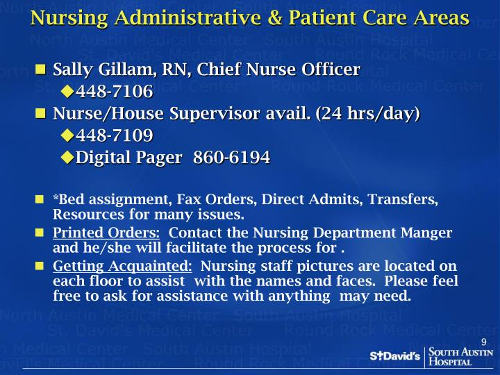 Nursing Administrative & Patient Care Areas