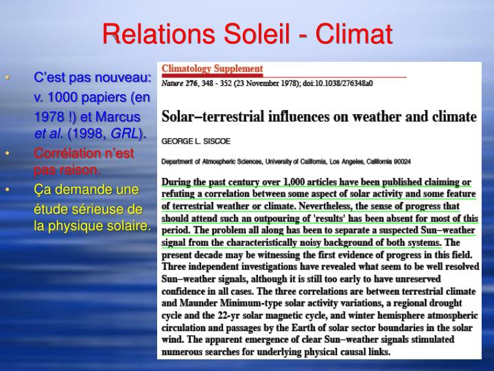 Relations Soleil - Climat