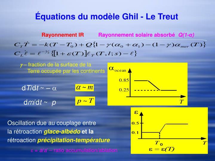 Équations du modèle Ghil - Le Treut