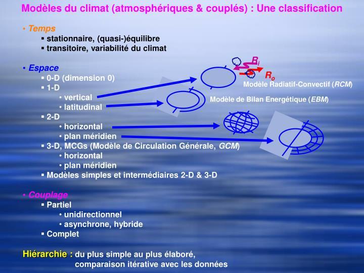 Modèles du climat (atmosphériques & couplés) : Une classification