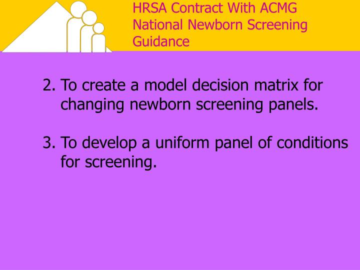 HRSA Contract With ACMG