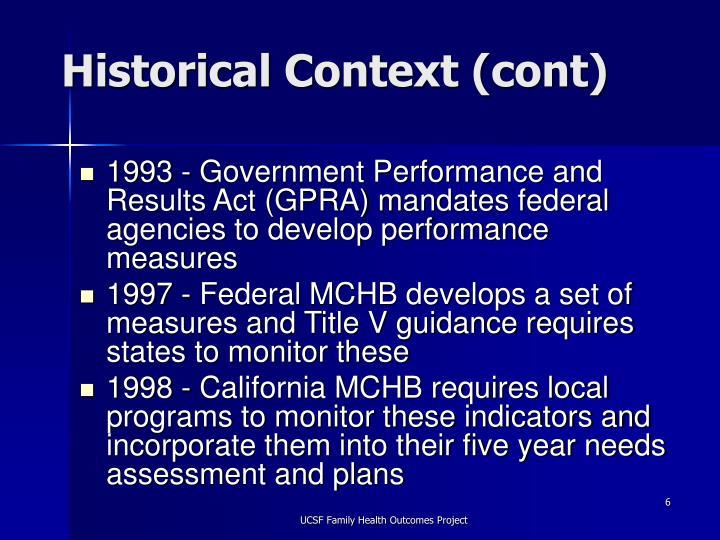 Historical Context (cont)