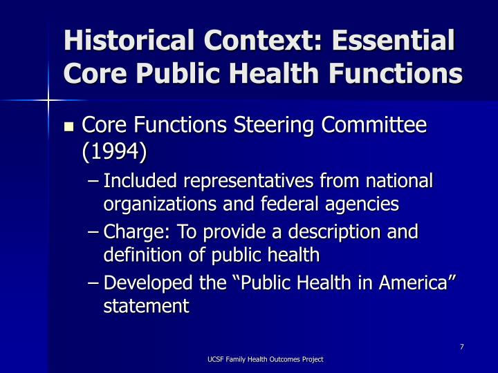 Historical Context: Essential Core Public Health Functions
