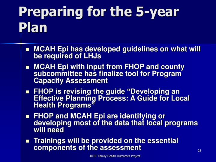 Preparing for the 5-year Plan