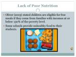 lack of poor nutrition