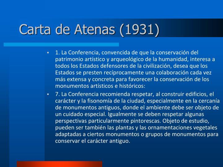 Carta de atenas 1931