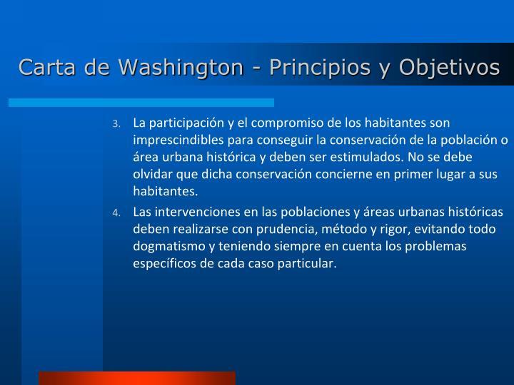 Carta de Washington - Principios y Objetivos