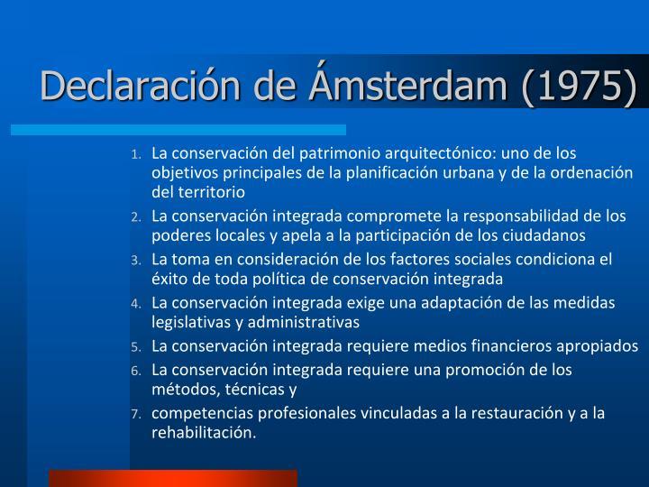 Declaración de Ámsterdam (1975)