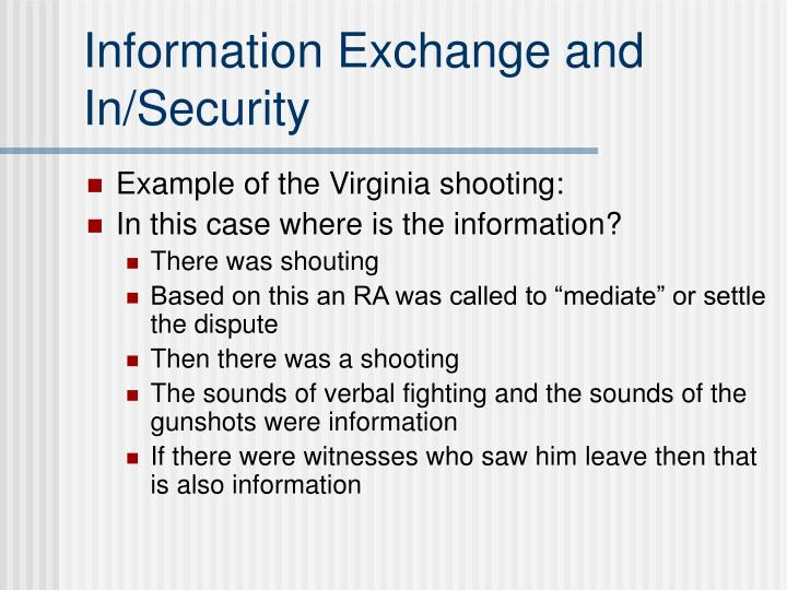 Information Exchange and In/Security