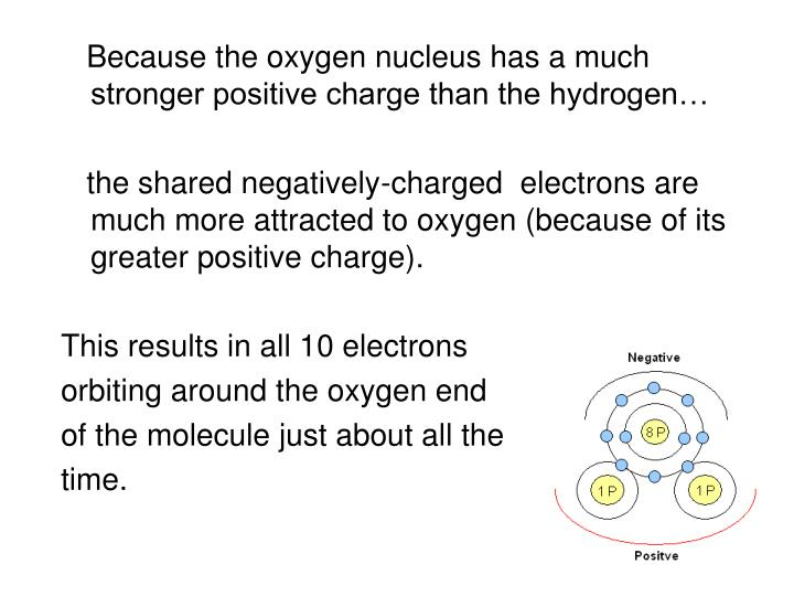 Because the oxygen nucleus has a much stronger positive charge than the hydrogen…