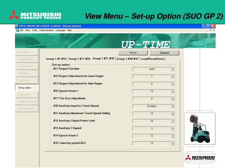 View Menu – Set-up Option (SUO GP 2)