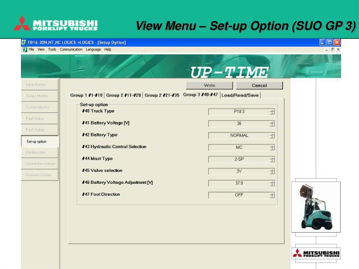 View Menu – Set-up Option (SUO GP 3)