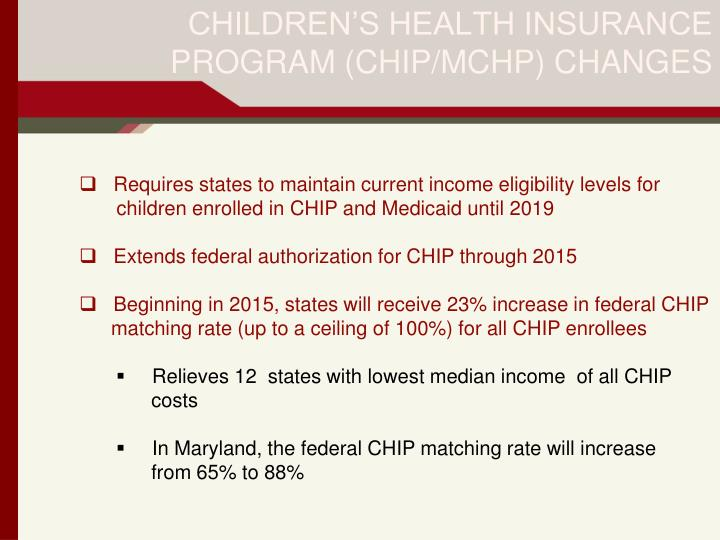 CHILDREN'S HEALTH INSURANCE PROGRAM (CHIP/MCHP) CHANGES