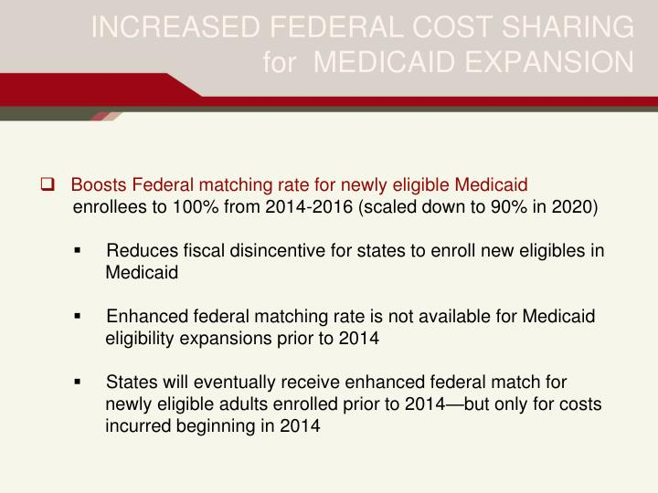 INCREASED FEDERAL COST SHARING for  MEDICAID EXPANSION