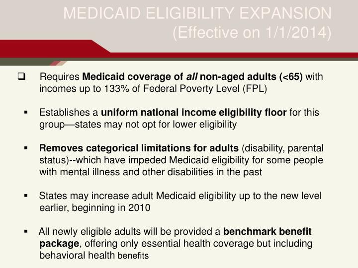 MEDICAID ELIGIBILITY EXPANSION