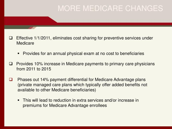 MORE MEDICARE CHANGES