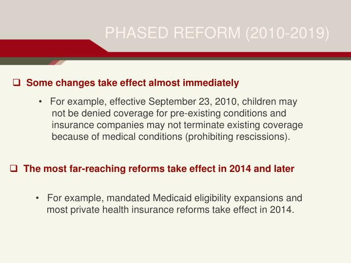 Phased reform 2010 2019