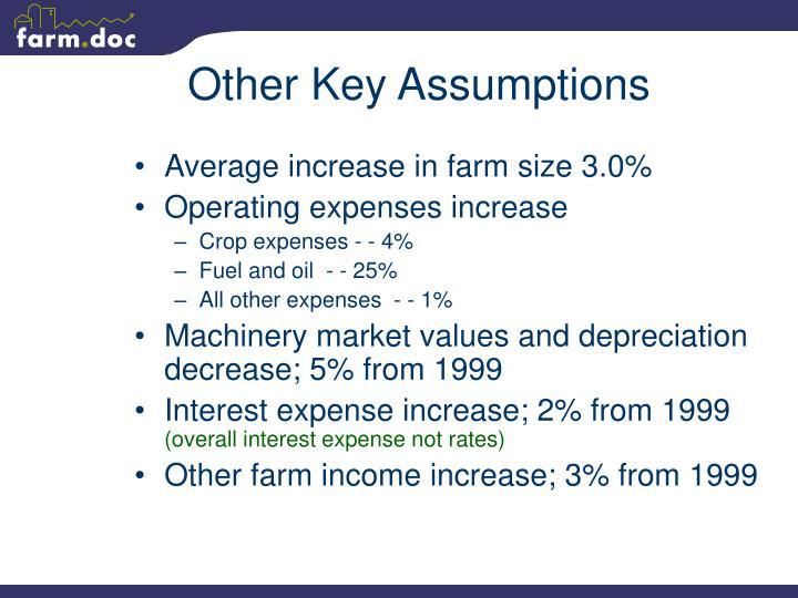 Other Key Assumptions
