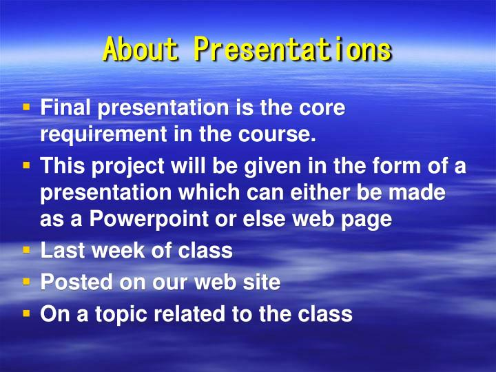 About Presentations