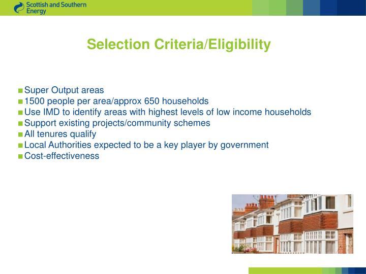 Selection Criteria/Eligibility