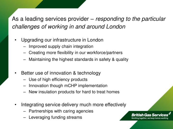 As a leading services provider –