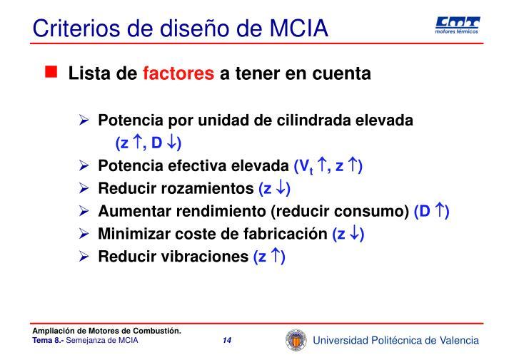 Criterios de diseño de MCIA