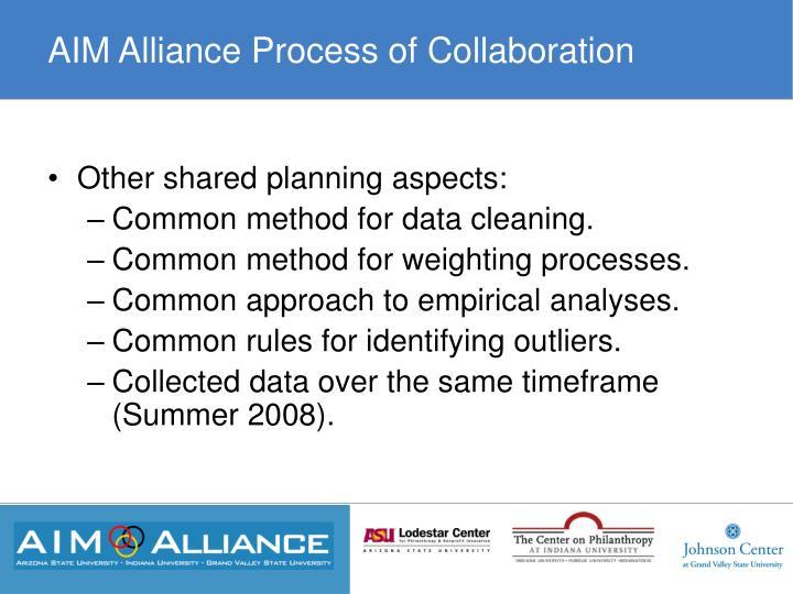 AIM Alliance Process of Collaboration