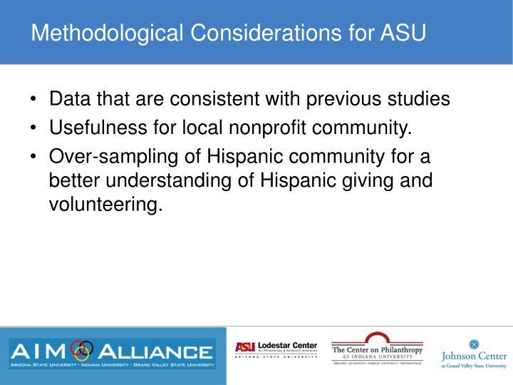 Methodological Considerations for ASU