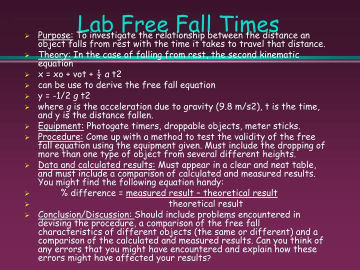 Lab Free Fall Times
