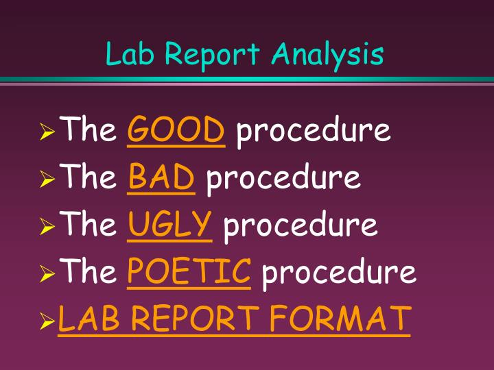 Lab Report Analysis