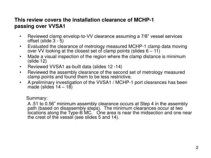 This review covers the installation clearance of mchp 1 passing over vvsa1