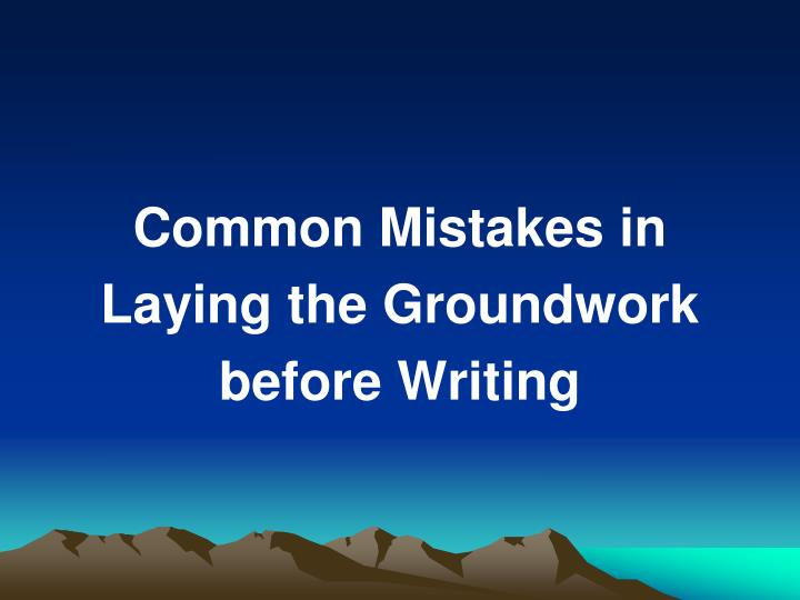 Common Mistakes in