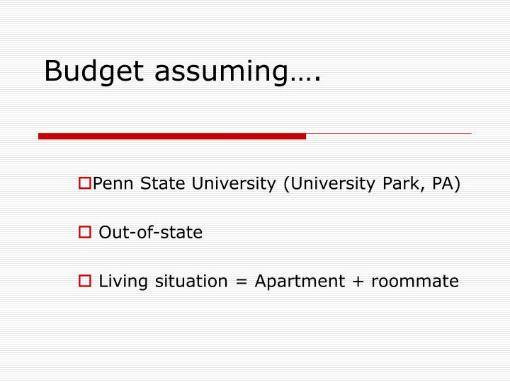 Budget assuming….