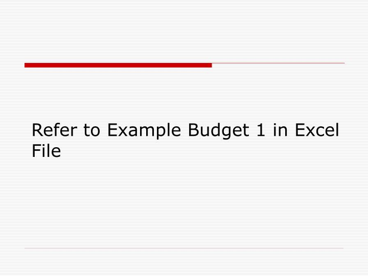 Refer to Example Budget 1 in Excel File