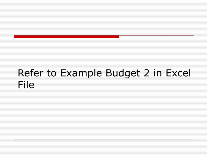 Refer to Example Budget 2 in Excel File