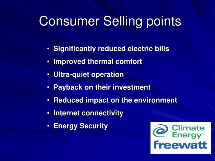 Consumer Selling points