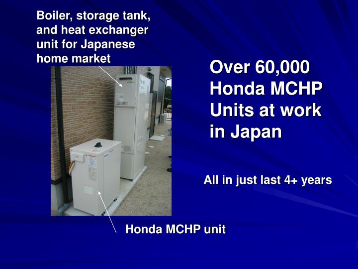 Boiler, storage tank, and heat exchanger unit for Japanese home market