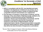 conditions for surrender of dod spectrum
