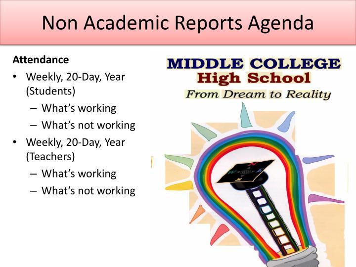 Non Academic Reports Agenda