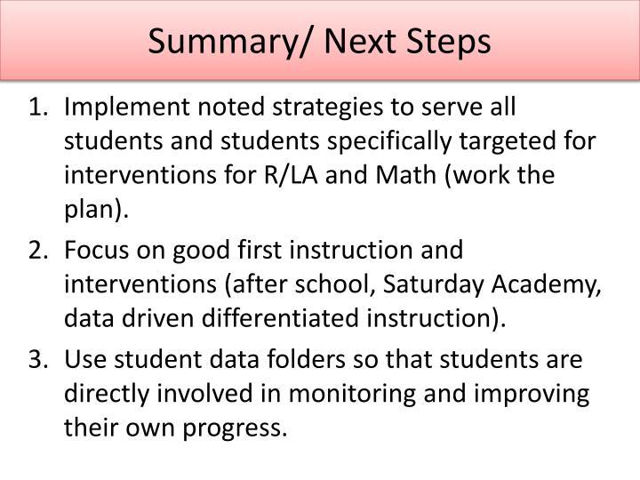 Summary/ Next Steps
