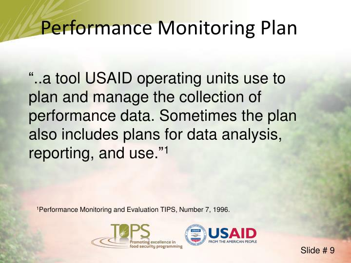 Performance Monitoring Plan