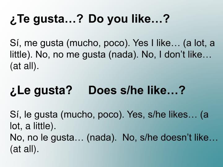¿Te gusta…? Do you like…?